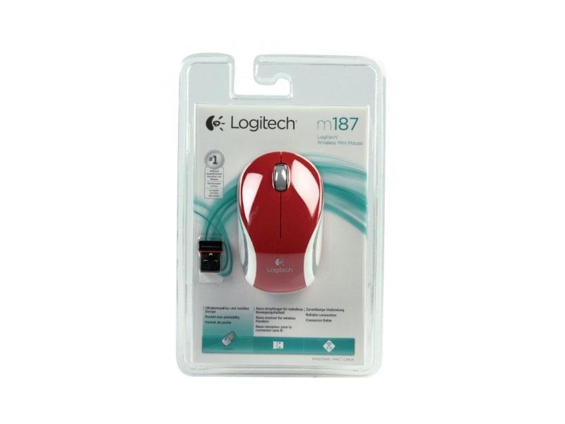 Мышь Logitech Wireless Mini Mouse M187 Red